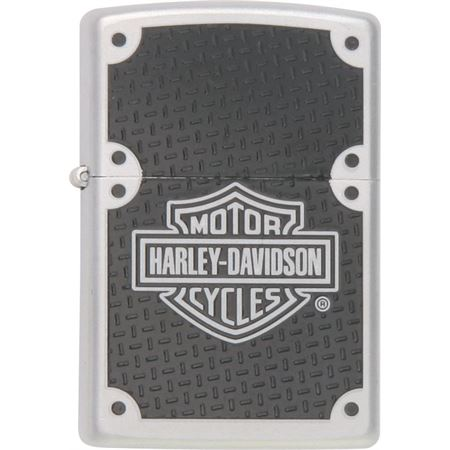 Zippo Lighters 24025 Harley Davidson Logo/Black Carbon Fiber Onlay Zippo Lighter with Brushed Chrome Finish