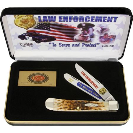 CA LE CALE CA-LE Case Cutlery Law Enforcement Trapper knife knifes cutlery 4 1/8 inch closed. Stainless clip and spey blades. Blades feature  inchLaw Enforcement inch and  inchTo Serve and Protect inch etching with police shield. Amber bone