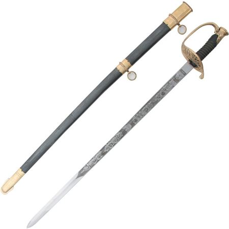 PA 917 PA917 PA-917 Pakistan US Cavalry Sword knife knifes cutlery 35 1/2 inch overall. 29 7/8 inch unsharpened steel blade with U.S. etch. Black composition handle with brass wire wrap. Brass hand guard. Black finish steel scab