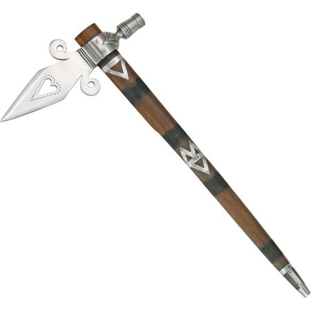 North American 244 Spontoon Tomahawk Pipe with Brown HardWood Shaft