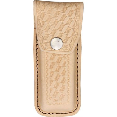 SH 205 SH205 SH-205 Sheaths Leather Belt Pouch knife knifes cutlery Fits 4 1/2 inch to 5 1/4 inch knife. Embossed basketweave design.