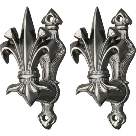 CN 203308 CN203308 CN-203308 China Made Fleur de lis knife knifes cutlery Gun and Sword Holder. 3 3/8 inch high. Set of two which may be mounted any distance apart on a wall to display various size guns, swords, bowies, dagg