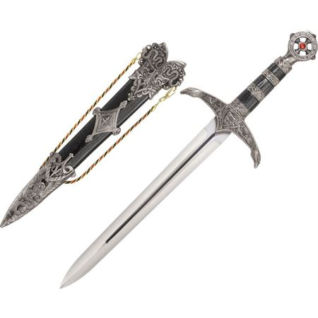 cn 210868 cn210868 cn-210868 china made medieval lord''s dagger knife knifes cutlery 17 5/8 inch overall. 10 3/4 inch stainless blade with blood groove. cast metal handle, guard and pommel. pommel has simulated red ruby centerpie