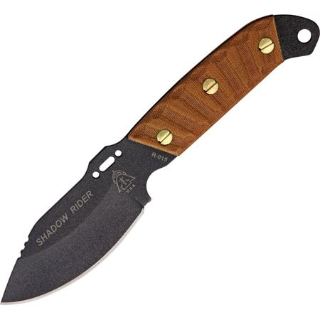 TP SDRD01 TPSDRD01 TP-SDRD01 TOPS Shadow Rider knife knifes cutlery 7 5/8 inch overall. 3 inch black traction coated 1095 high carbon steel blade with drilled hole and slot cutouts. Hardened to 56-58HRC. Full extended tang with