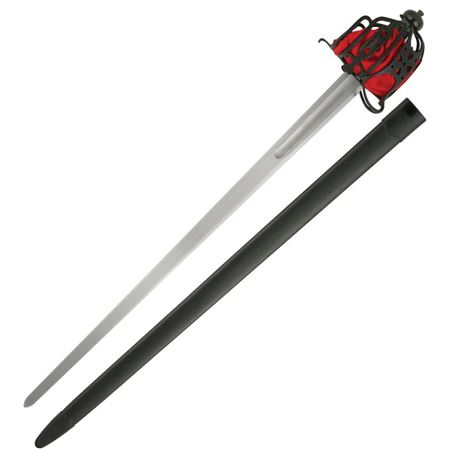 Paul Chen  2059 Practical Rounded Tip Broadsword with Black Leather Grip