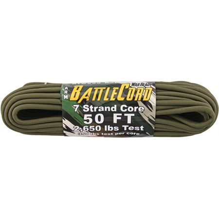 Elite Parachute Cords - ARM BattleCord OD 50 ft length. Model: RG1124. 7 strand core. 2,650 lbs test. 350 lbs test per core Rot, UV and mildew resistant. Colors will not run or bleed. Not a life line.