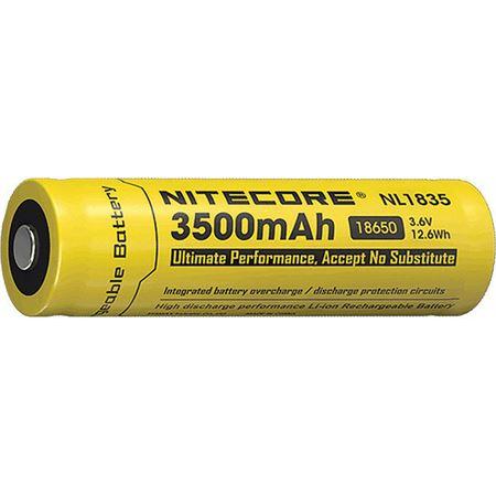 NITECORE Lights - Rechargable 18650 Battery 3500 Model: NCNL1835. Rechargeable 18650 Li-ion Battery. 3500 mAh capacity. Voltage 3.6V.