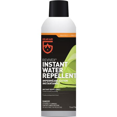 Gear Aid - Revivex Instant Waterproofing Model: MCN20420. Amount: 5 oz; Other Info: PFOA and silicone-free formula safe for nylon, leather, suede, and Gore-Tex fabrics. Repels water, dirt, a