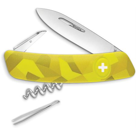 Swiza 102080 C01 Button Lock Knife with Yellow Camo Rubberized Handle