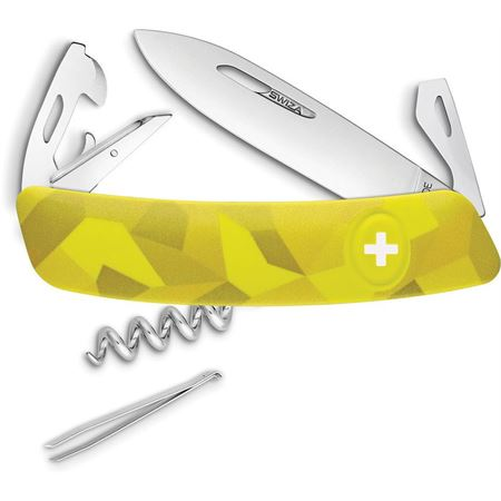 Swiza 302080 C03 Button Lock Knife with Yellow Camo Rubberized Handle