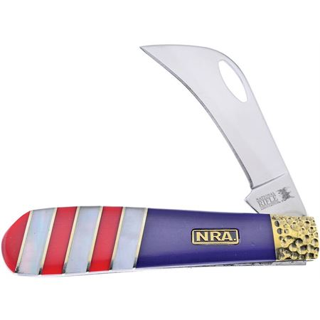 Frost NRA441RWB Hawkbill Knife with Red and Blue Handle