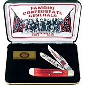 Case FGRPB Famous Confederate Generals Folding Knife with Red Pick Bone Handle