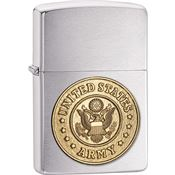 Zippo Lighters 10580 US Army Emblem Zippo Lighter with Brushed Chrome Finish
