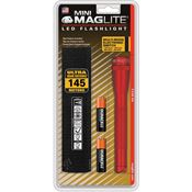 Maglite 53041 Mini Mag-Lite 2AA Cell Red Survival LED Flashlight with Anodized Finish