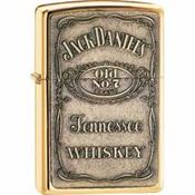 Zippo Lighters 16428 Jack Daniel's Brass Emblem High Polish Brass