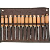 Steel X 2227 12 Piece Carving Chisel Set with Beech Wood Handles
