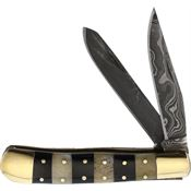 Fox-N-Hound Knives 614 Damascus Trapper Folding Pocket Knife with Stang Handle
