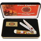 Case FF Firefighter Trapper Folding Pocket Knife with Corelon Handle