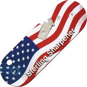Sterling Knives USA Compact Knife Sharpener with USA Flag Finish Lightweight Aluminum Body