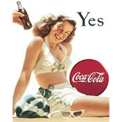 Tin Sign 1056 Coke Yes White Bathing Suit Rich Vibrant Colors and Heavy Embossing Tin Sign
