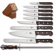 Forschner Knives 46153 Victorinox Eleven Piece Set Kitchen Knife with Rosewood Handle