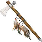 China Made 210956 Feather Tomahawk Peace Pipe with Brown Wood Handle