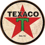 Tin Sign 1798 Texaco Round Rich Vibrant Colors and Heavy Embossing Tin Sign