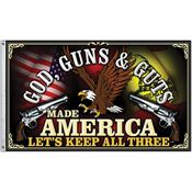 Super Products S36680 Flag God Guns and Guts Made America with 100% Polyester Construction