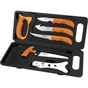 Outdoor Edge WP2 Wild-Pak Game Processing Set 8-Piece Knife Stainless Blade with Blaze Orange Handle