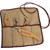 Flexcut XJKN100 4-Piece Carving Knife Set with Ergonomic Wood Handle