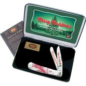 Case XX Knives MCPM 2014 Christmas Trapper Folding Pocket Knife with Peppermint Corelon Handle