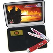 Case AFF American Firefighter Gift Set Folding Knife with Red Jigged Bone Handle