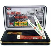 Case VIET Vietnam Trapper Gift Set Folding Pocket Knife with Red Jigged Bone Handle