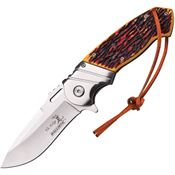 Elk Ridge A003I Assisted Opening Linerlock Folding Pocket Knife with Imitation Jigged Bone Handles