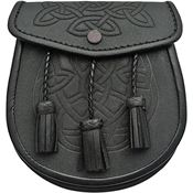 Pakistan Cutlery 3345 Celtic Knot Sporran Black Leather Pouch with Snap