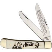 Frost 14312YF Trump You're Fired Trapper Folding Pocket Knife with White Laser Engraved Bone Handle