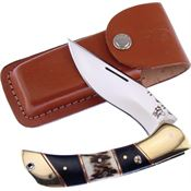 Frost TS197 Frost Cutlery Folder Stag with Brown Leather Belt Sheath