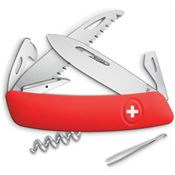 Swiza 501000 D05 Swiss Button Lock Knife with Red Rubberized Handle