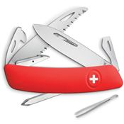 Swiza 601000 D06 Swiss Button Lock Knife with Red Rubberized Handle