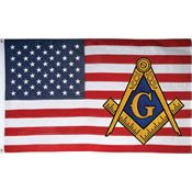Flags 7277 3' x 5' USA Mason Flag with Polyester Construction